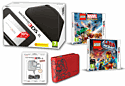 Nintendo 3DS XL Black Console and LEGO Marvel Superheroes and LEGO Movie the Videogame and Super Mario Case & 3DS XL Adaptor 3DS