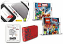 Nintendo 3DS XL Silver Console and LEGO Marvel Superheroes and LEGO Movie the Videogame and Super Mario Case & 3DS XL Adaptor 3DS