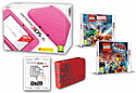 Nintendo 3DS XL Pink Console and LEGO Marvel Superheroes and LEGO Movie the Videogame and Super Mario Case & 3DS XL Adaptor 3DS