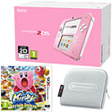 Nintendo 2DS Pink & White with Kirby Triple Deluxe and Silver 2DS Carry Case Accessories