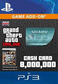 GTA Online Megalodon Shark Cash Card - $8,000,000 (PS3) PlayStation Network