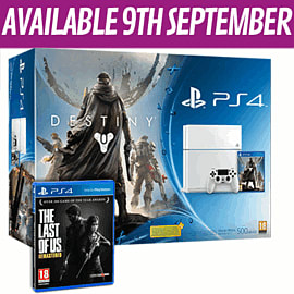 White PlayStation 4 with Destiny + Vanguard and The Last of Us Remastered PlayStation 4