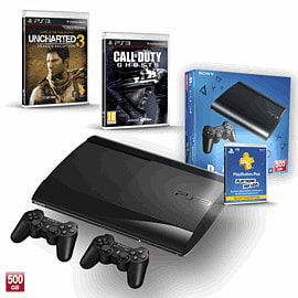 PS3 500GB with Uncharted 3 GOTY, Official Sony Dualshock Controller, Call of Duty: Ghosts and PS+ 12 Month Membership PlayStation-3