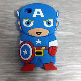 Blue 3D Captain America Pattern Soft Silicone Case Cover For iPhone 4 4s/4g Mobile phones