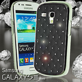 BLACK DIAMANTE BLING CHROME EFFECT HARD CASE FOR SAMSUNG GALAXY S3 MINI i8190 Mobile phones