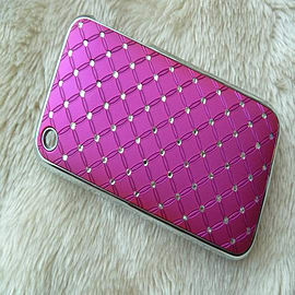 DIA® New hard Hot Pink Diamante Chrome effect bling case for Apple iPhone 3 3g 3gs Mobile phones