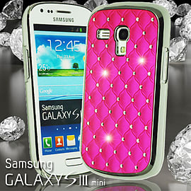Hot Pink Samsung Galaxy SIII S3 Mini i8190 Silver Chrome Diamond Bling Sparkle Diamante Shiny Hard m Mobile phones