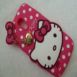 DIA HOT PINK DOTS HELLO KITTY SILICONE CASE COVER TO FIT SAMSUNG GALAXY S4 MINI I9190 Mobile phones