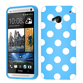 HTC ONE M7 POLKA DOTS CASE BLUE / WHITE Mobile phones