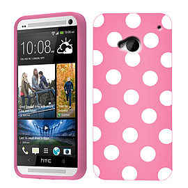 HTC ONE M7 POLKA DOTS CASE PINK / WHITE Mobile phones