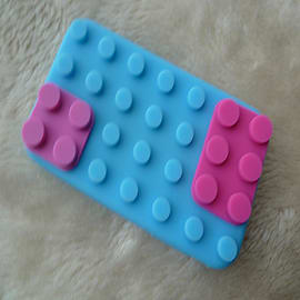 DIA Light Blue Building bricks silicone case Cover for iPhone 3 3g 3gs Mobile phones
