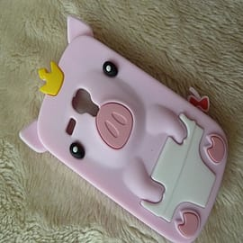 Light Pink Samsung i8190 S3 Mini New Silicone Crown Pig Soft Rubber Case Cover Shell for Samsung Gal Mobile phones