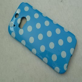 DIA LIGHT BLUE TPU GEL DOTS CASE COVER FOR HTC ONE M8 Mobile phones