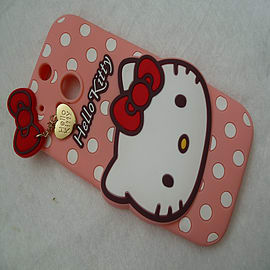 DIA LIGHT PINK HELLO KITTY DOTS SILICONE CASE COVER TO FIT HTC ONE M8 Mobile phones