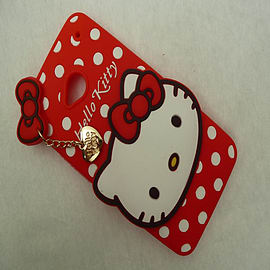 DIA RED HELLO KITTY DOTS SILICONE CASE COVER TO FIT HTC ONE M7 Mobile phones