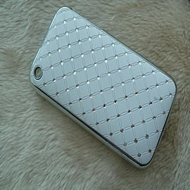 DIA® New hard White Diamante Chrome effect bling case for Apple iPhone 3 3g 3gs Mobile phones