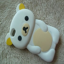 White Cute Bear Soft Silicone Case Cover compatible for iPhone 4 4g 4s Mobile phones