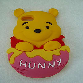 DIA Winnie The Pooh Hot Pink Bucket Soft Silicone Phone Case Cover for iPhone 4 4g 4s Mobile phones
