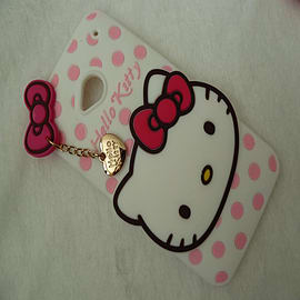 DIA WHITE HELLO KITTY DOTS SILICONE CASE COVER TO FIT HTC ONE M7 Mobile phones