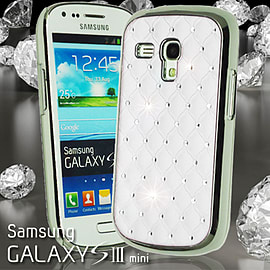 WHITE DIAMANTE BLING CHROME EFFECT HARD CASE FOR SAMSUNG GALAXY S3 MINI I8190 Mobile phones