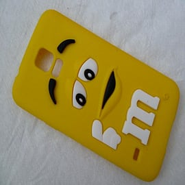 DIA YELLOW M & M CHOCOLATE BEAN SILICONE CASE COVER FOR SAMSUNG GALAXY S5 G900H Mobile phones