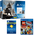White PlayStation 4 with Destiny + Vanguard, The LEGO Movie Videogame and PlayStation Plus 12 Month Membership PlayStation 4