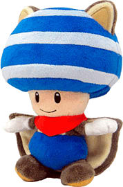 Super Mario Bros Flying Squirrel Toad Plush - Blue Toys and Gadgets
