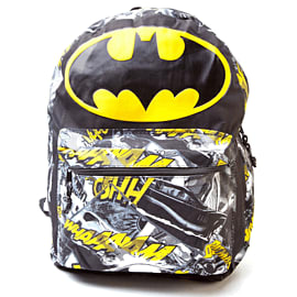 Batman Logo with Comic Artwork Backpack (Black/Yellow) Gifts and Gadgets