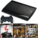 PlayStation 3 500GB Console with Grand Theft Auto V, The Evil Within, Uncharted 3 GOTY & DualShock 3 PlayStation 3
