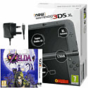 The New Nintendo 3DS XL Metallic Black with Legend of Zelda: Majora's Mask 3D and GAMEware Nintendo 3DS AC Adaptor Nintendo 3DS