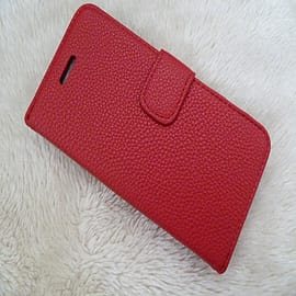 RED PLAIN LEATHER CASE FOR M8 Mobile phones