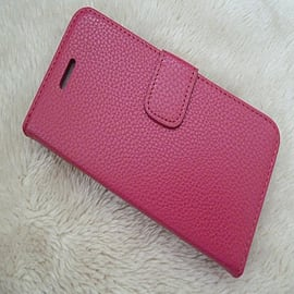 DARK PINK PLAIN LEATHER CASE FOR M8 Mobile phones