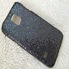 BLACK GLITTER SPARKLY HARD CASE FOR SAMSUNG S5 MINI Mobile phones