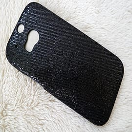 BLACK GLITTER HARD CASE TO FIT M8 Mobile phones