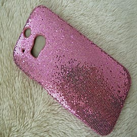 LIGHT PINK GLITTER HARD CASE TO FIT M8 Mobile phones