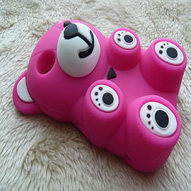DIA Hot Pink 3d Lovely Silicone Bear for Blackberry Curve 8520 8530 9300 Mobile phones