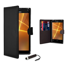 Huawei Ascend P6 Stylish PU leather case - Black Mobile phones