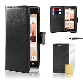 Huawei Ascend G6 (3G) Stylish PU leather case - Black Mobile phones