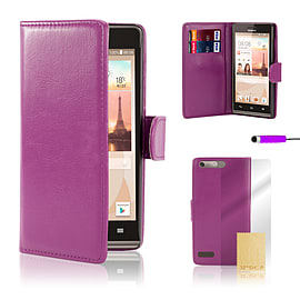 Huawei Ascend G6 (3G) Stylish PU leather case - Purple Mobile phones