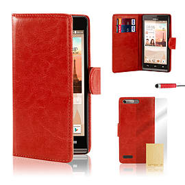 Huawei Ascend G6 (3G) Stylish PU leather case - Red Mobile phones