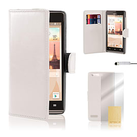 Huawei Ascend G6 (4G) Stylish PU leather case - White Mobile phones