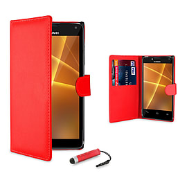Huawei Ascend G510 Stylish PU leather case - Red Mobile phones