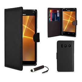 Huawei Ascend Y300 Stylish PU leather case - Black Mobile phones