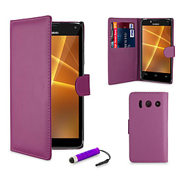 Huawei Ascend Y300 Stylish PU leather case - Purple Mobile phones