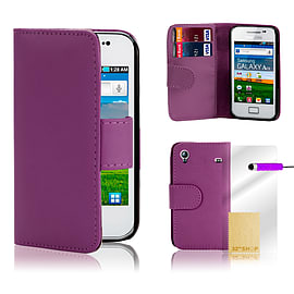 Samsung Galaxy Ace 4 G357 Stylish PU leather wallet case - Purple Mobile phones