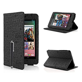 Google Nexus 7 Cute Love PU leather book case - Black Mobile phones