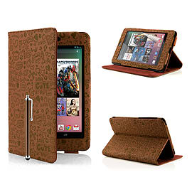 Google Nexus 7 Cute Love PU leather book case - Brown Mobile phones