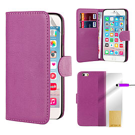 iPhone 6+ (5.5) Stylish PU Leather Book Case - Purple Mobile phones