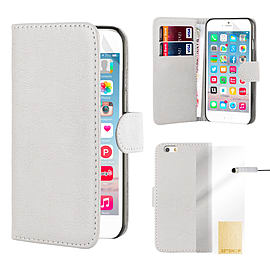 iPhone 6+ (5.5) Stylish PU Leather Book Case - White Mobile phones
