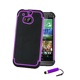 HTC One Mini 2 (M8 Mini) Dual layer shockproof case - Purple Mobile phones